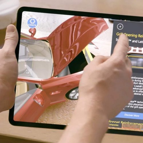 iPad showing the Augmented Reality Coats Automotive interactive 3D product model