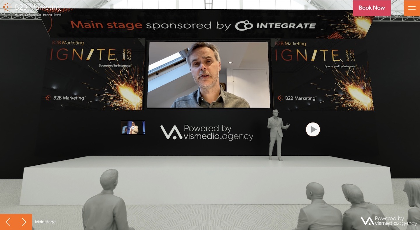 Ignite London 2020 immersive experience main stage area