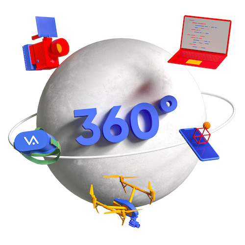 All of Vismedia's services (virtual reality, augmented reality, film and video production, 360° and animation) in orbit around a sphere