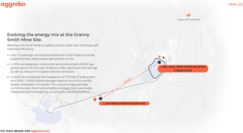 Interactive map of Aggreko Granny Smith mine project