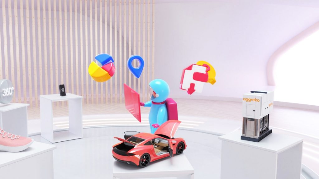 Central character of 3D animated video production with floating 3D models around them