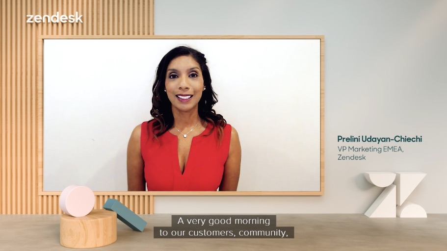 Host of Zendesk Morning Show Prelini Udayan-Chiechi on the 3D virtual set