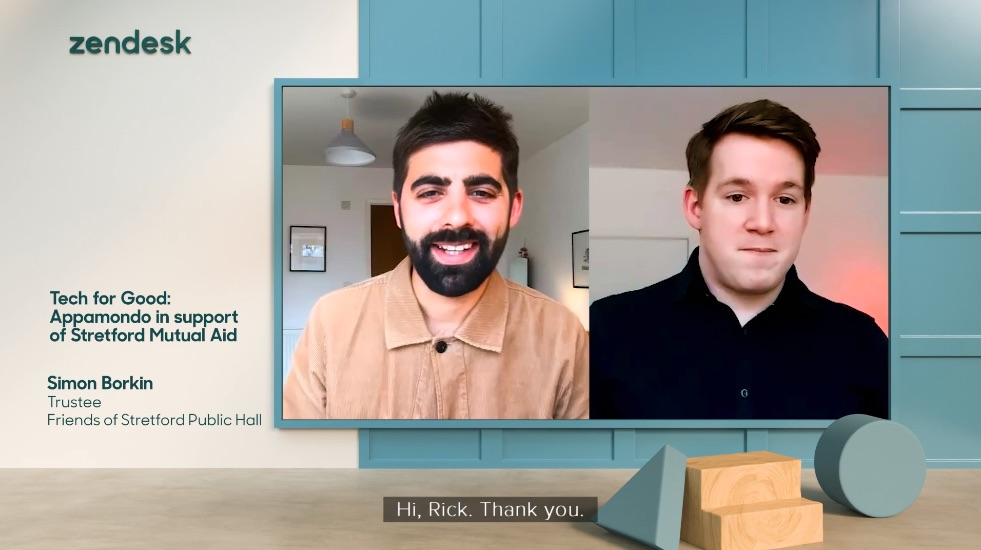 Two contributors talking within the 3D virtual set of Zendesk Morning Show