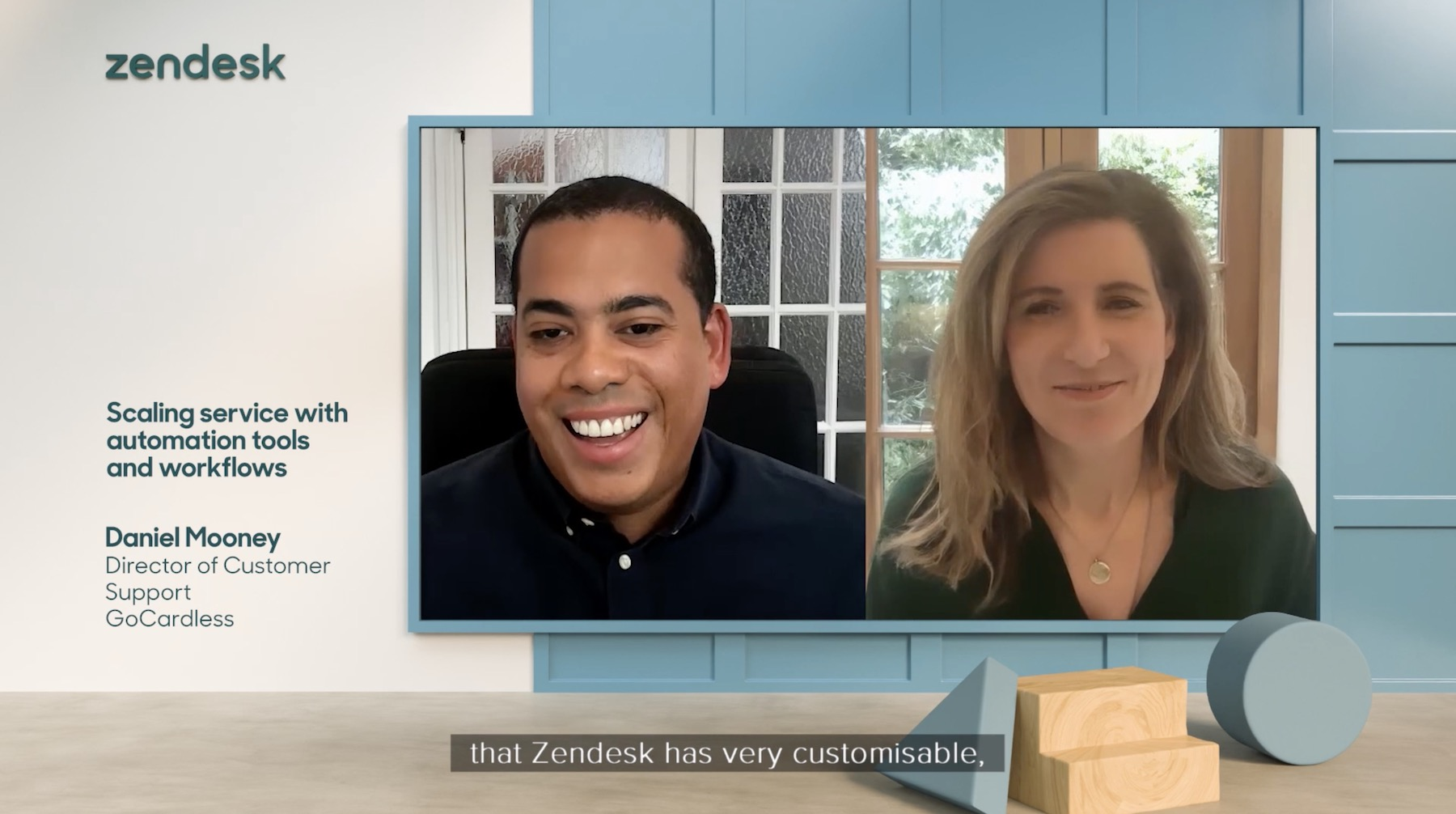 Two contributors talking in the split-screen view of the Zendesk Morning Show 3D set