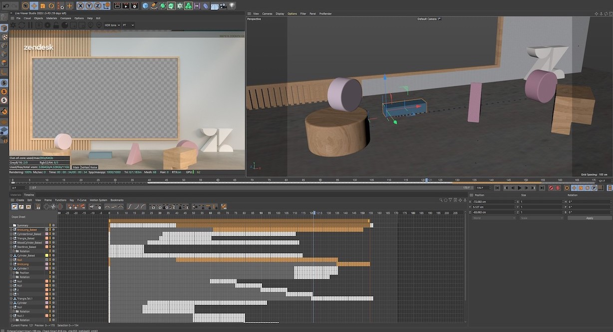 The 3D set of Zendesk Morning Show being created by a Vismedia 3D artist