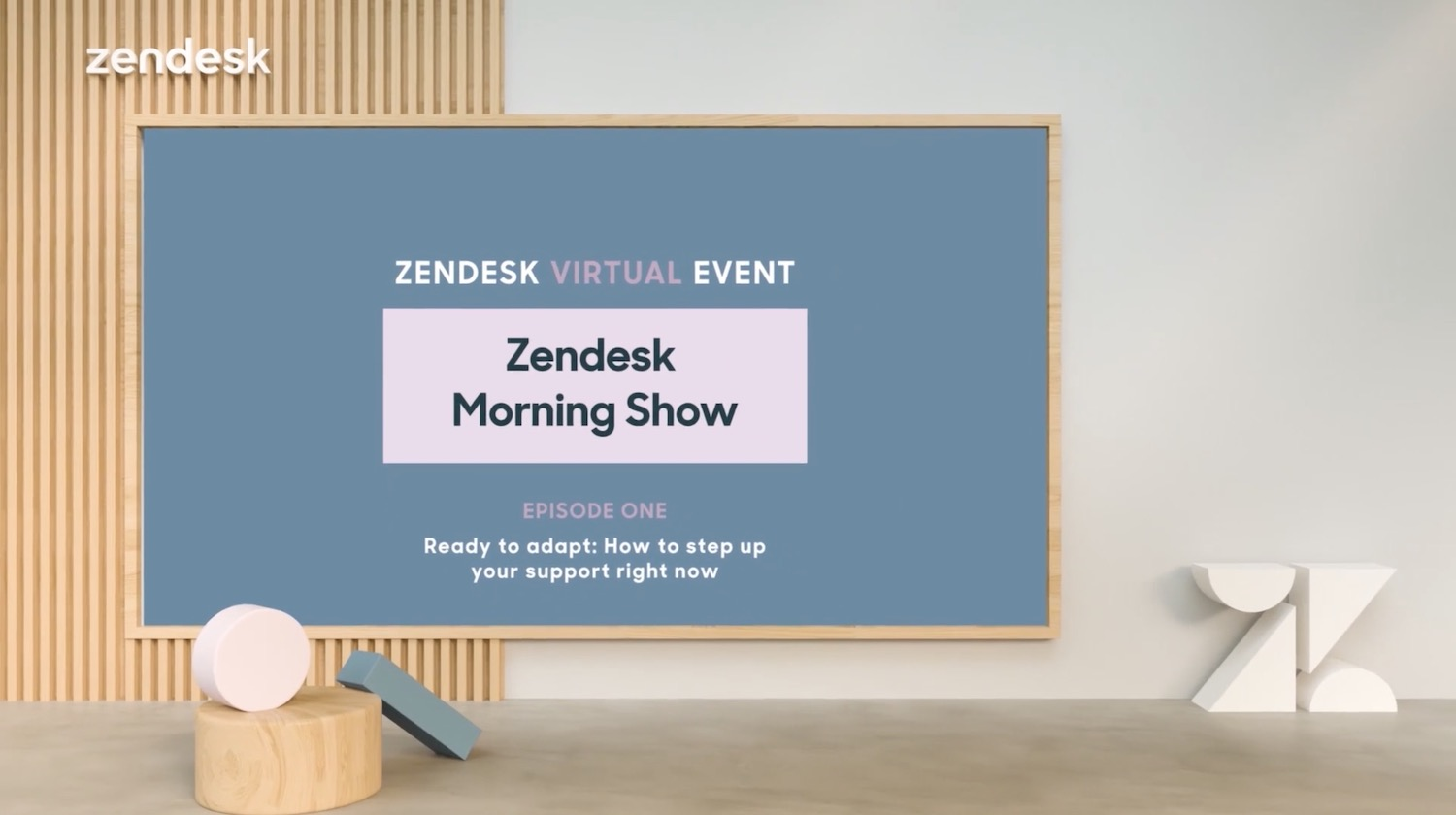 Zendesk Morning Show 3D set virtual stage title card