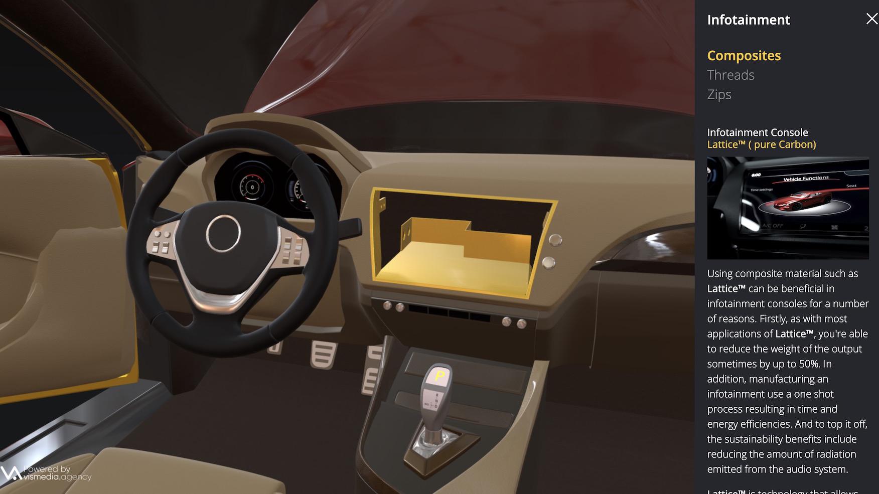 Interior shot of the 3D Coats Car model Immersive Interactive 360