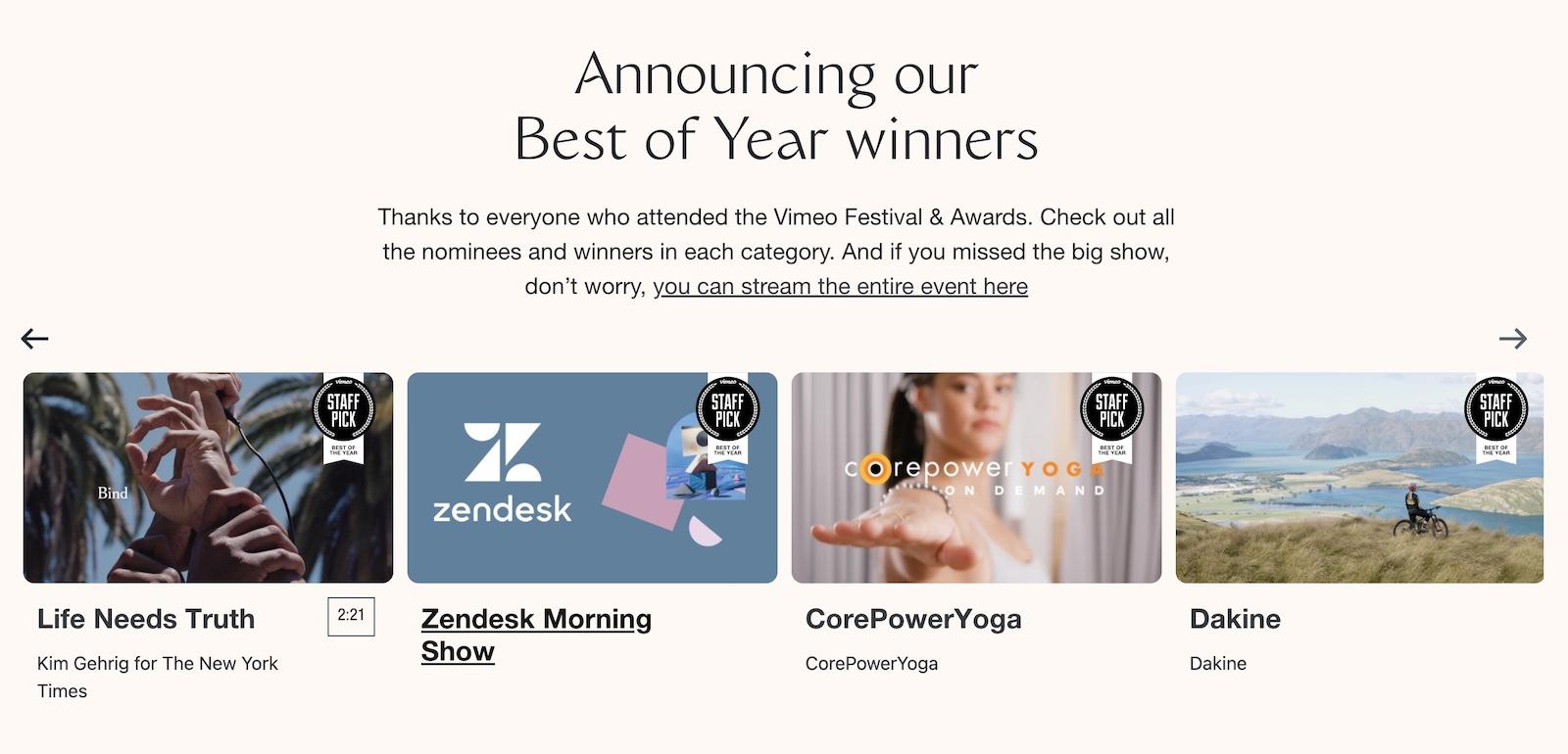 Vimeo Festival & Awards 2020 Best of the Year winners