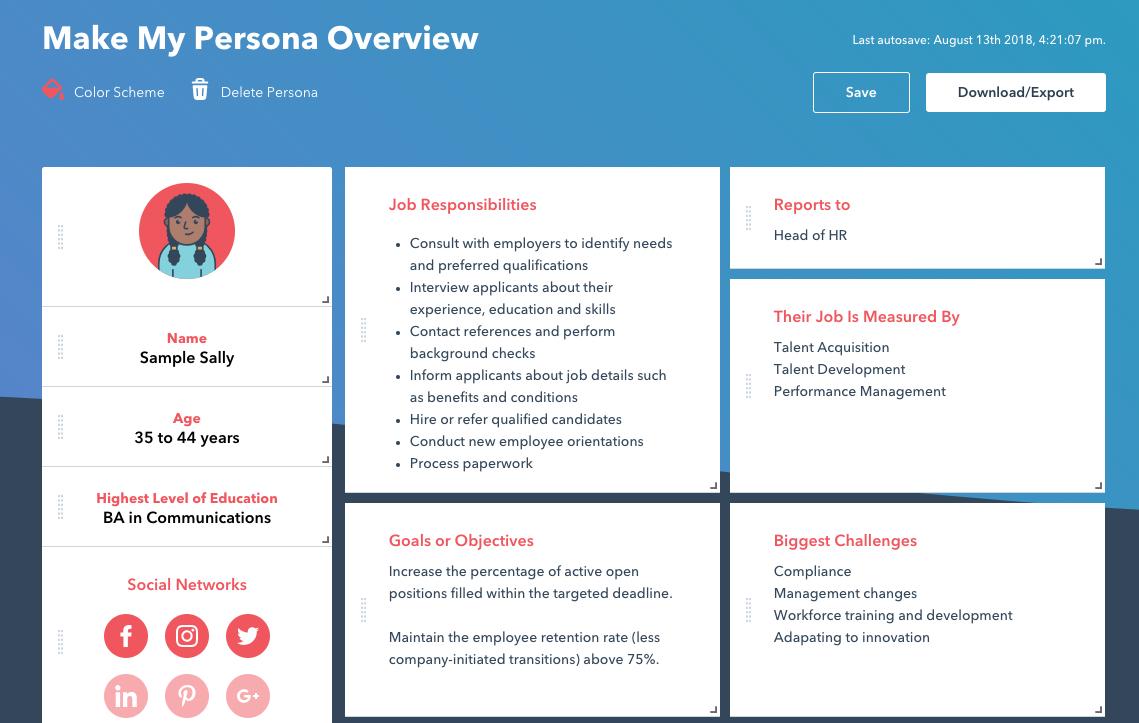 Screenshot of HubSpot's personas tool