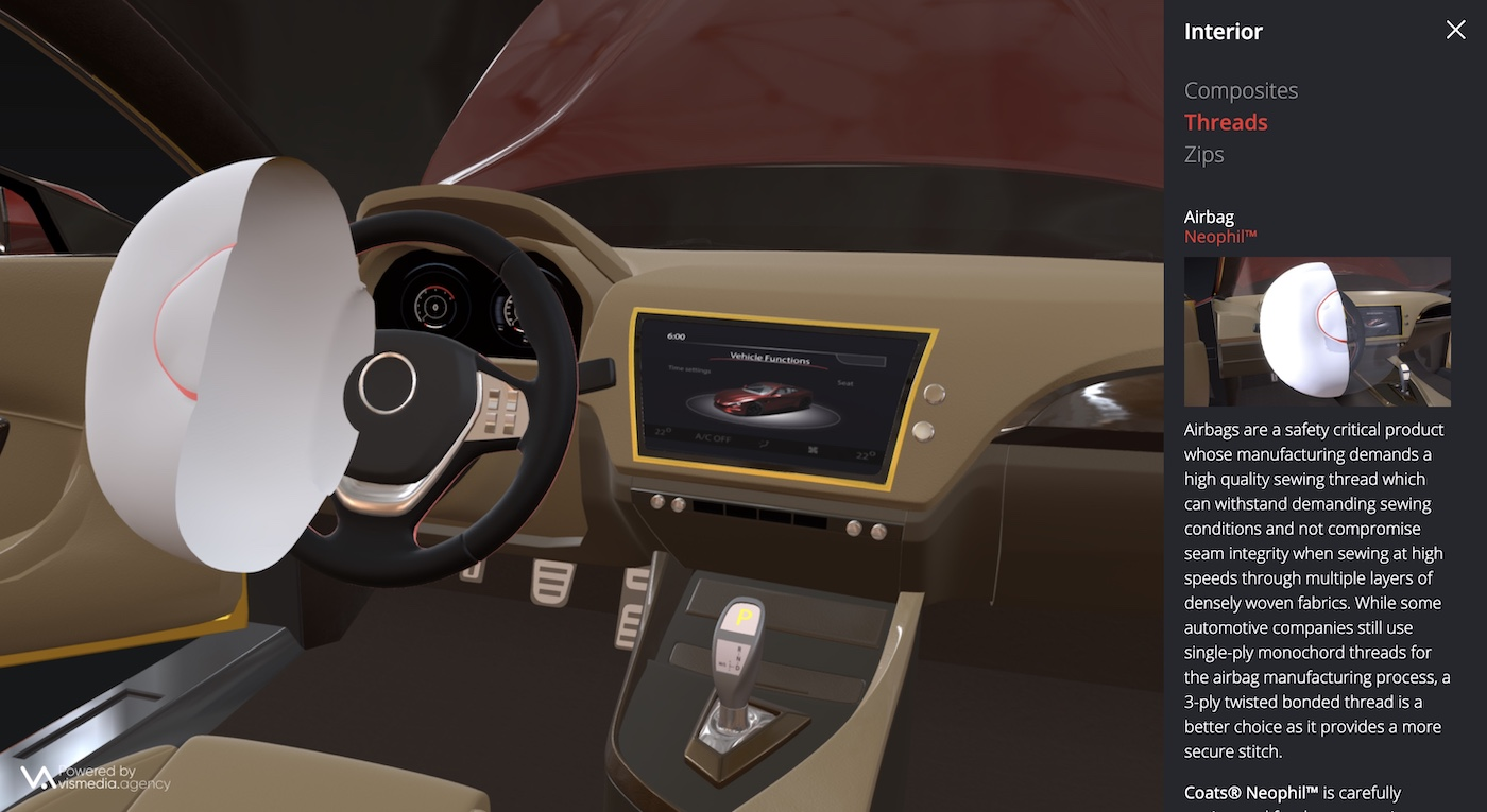 Coats Automotive 3D tool showcasing interior of 3D model car with information panel expanded on right hand side showcasing the product innovation