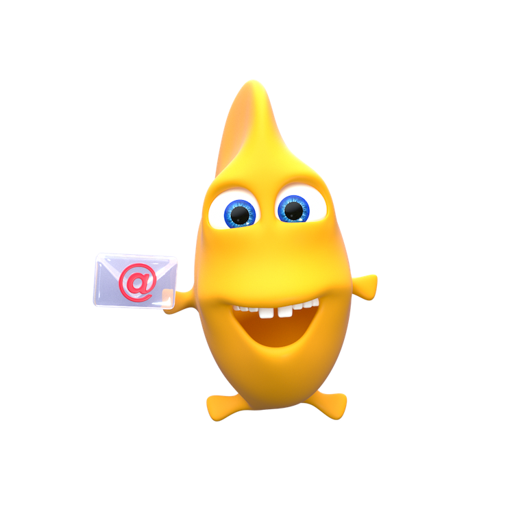 3D animated Vera the Fish holding an email