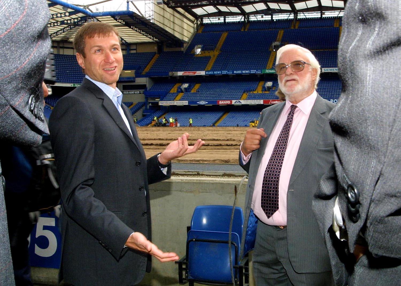Roman Abramovich in conversation with Ken Bates inside Stamford Bridge stadium July 2003